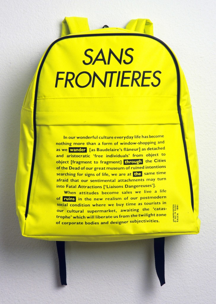 Art in Ruins. 'Sans Frontières'. Unlimited Edition Global Issue Rucksack. 1991