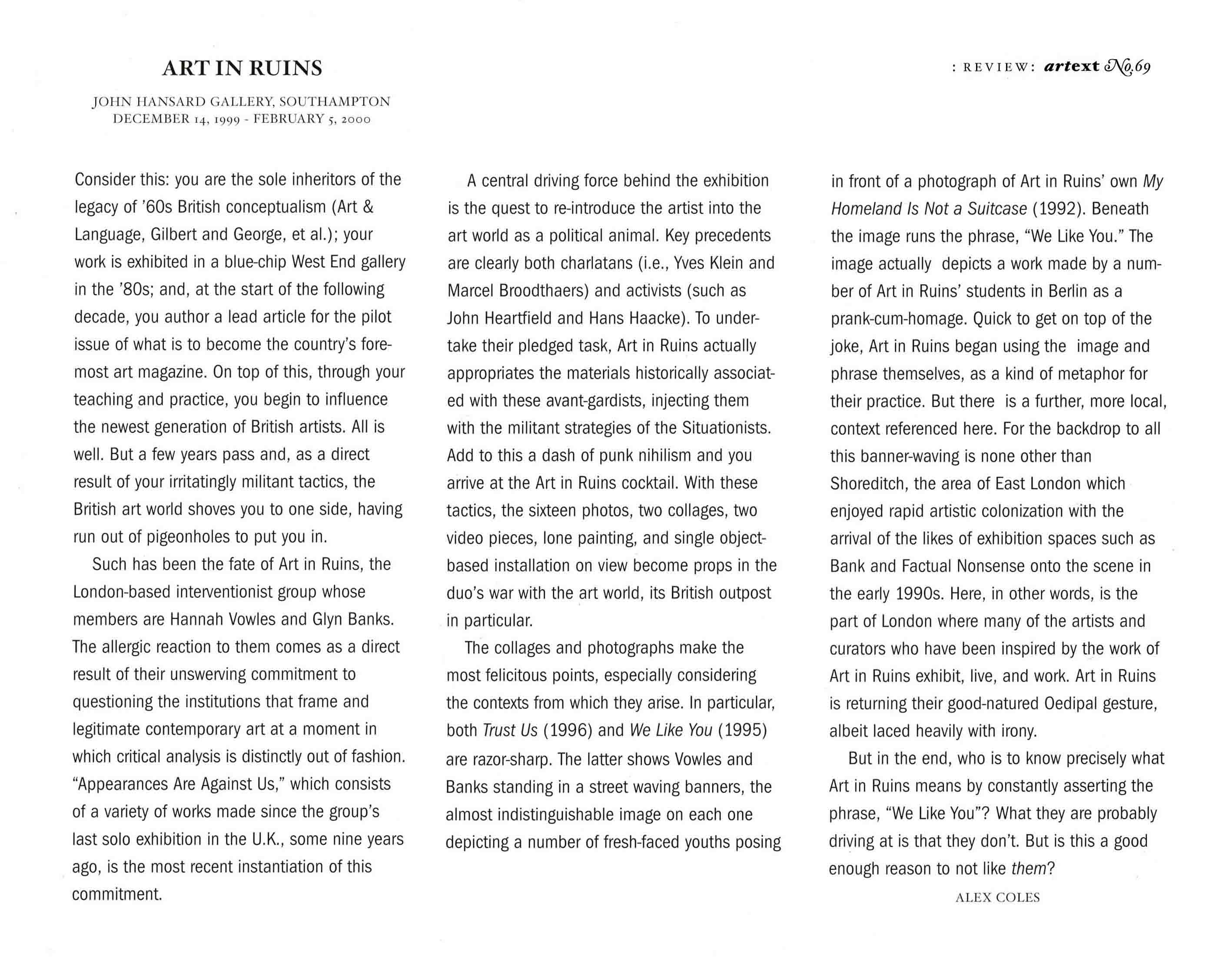 Alex Coles - Art and Text Review of Art in Ruins. Appearances are Against Us. Southampton 2000