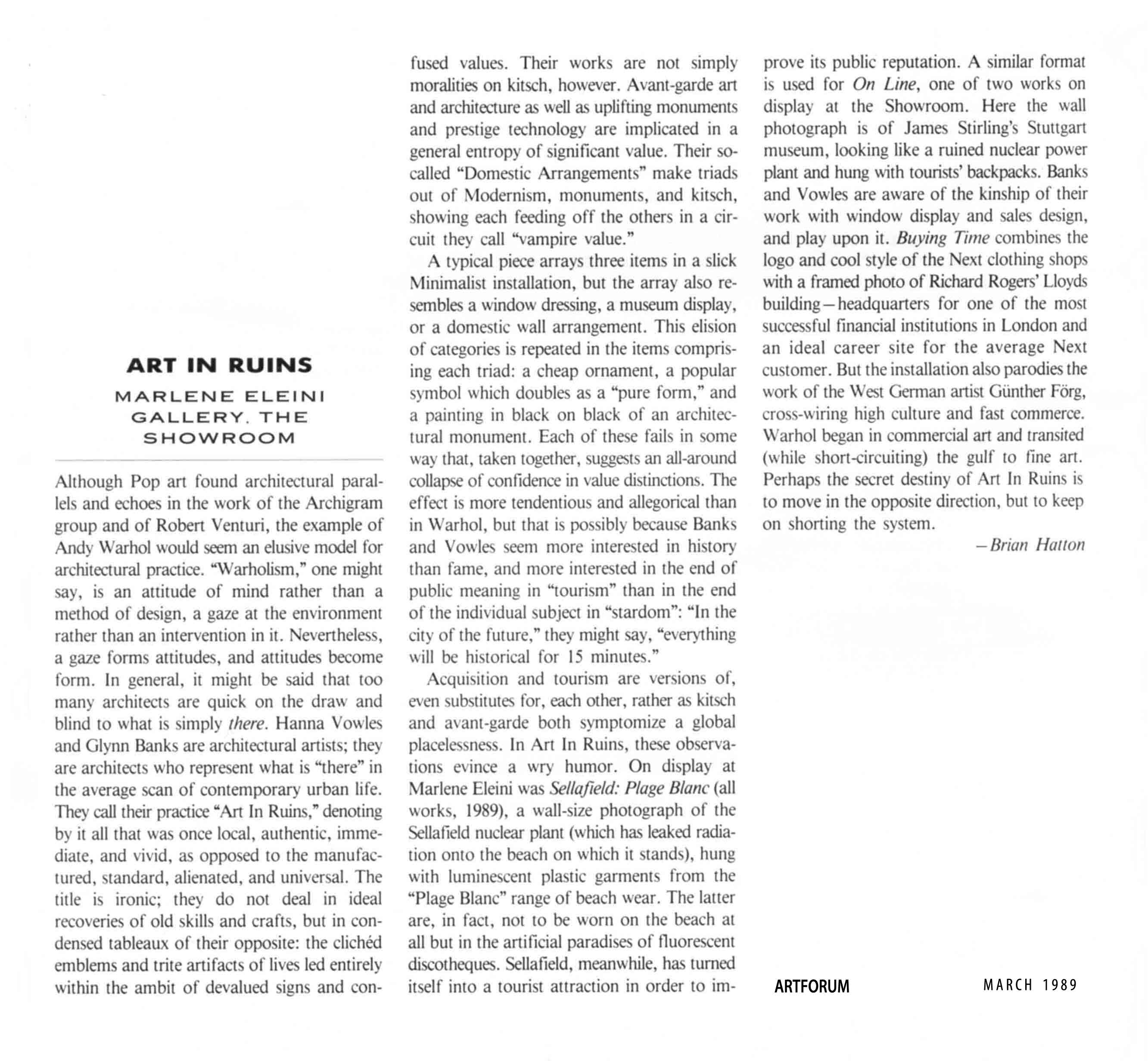 Brian Hatton - ArtForum Review of Art in Ruins Showroom and Marlene Eleini 1989