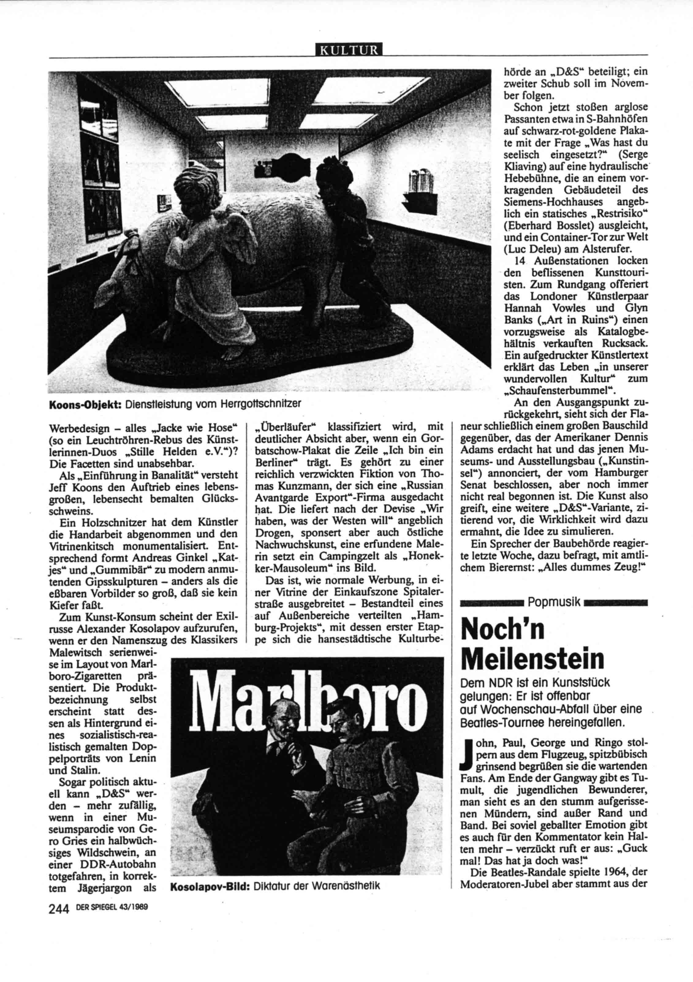 'Gummibar ganz gross'   Review of 'D & S AUSTELLUNG' Der Spiegel  No 43  Oct 23  1989
