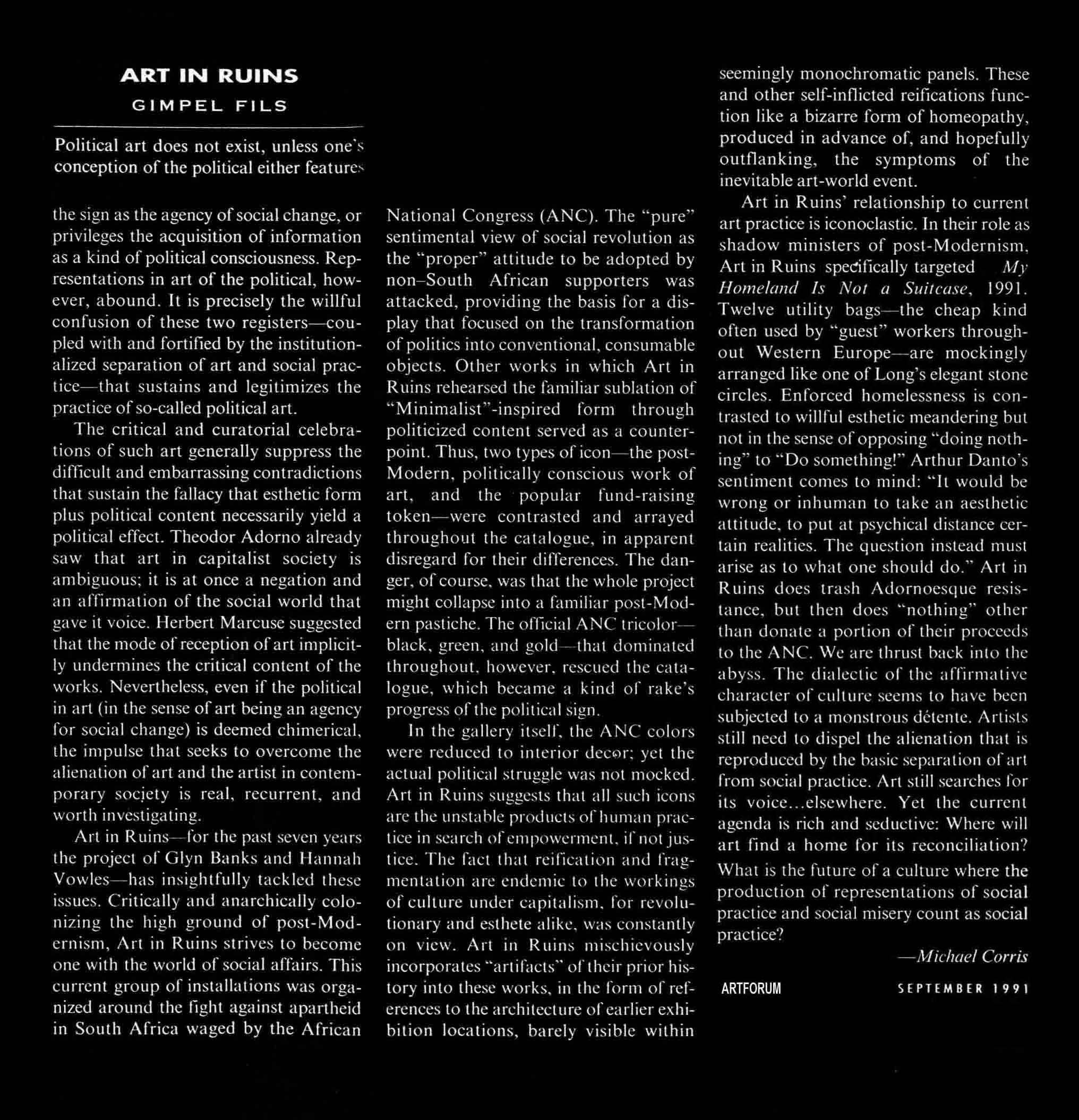 New Work: Art in Ruins. Review by Michael Corris Artforum  Sept 1991