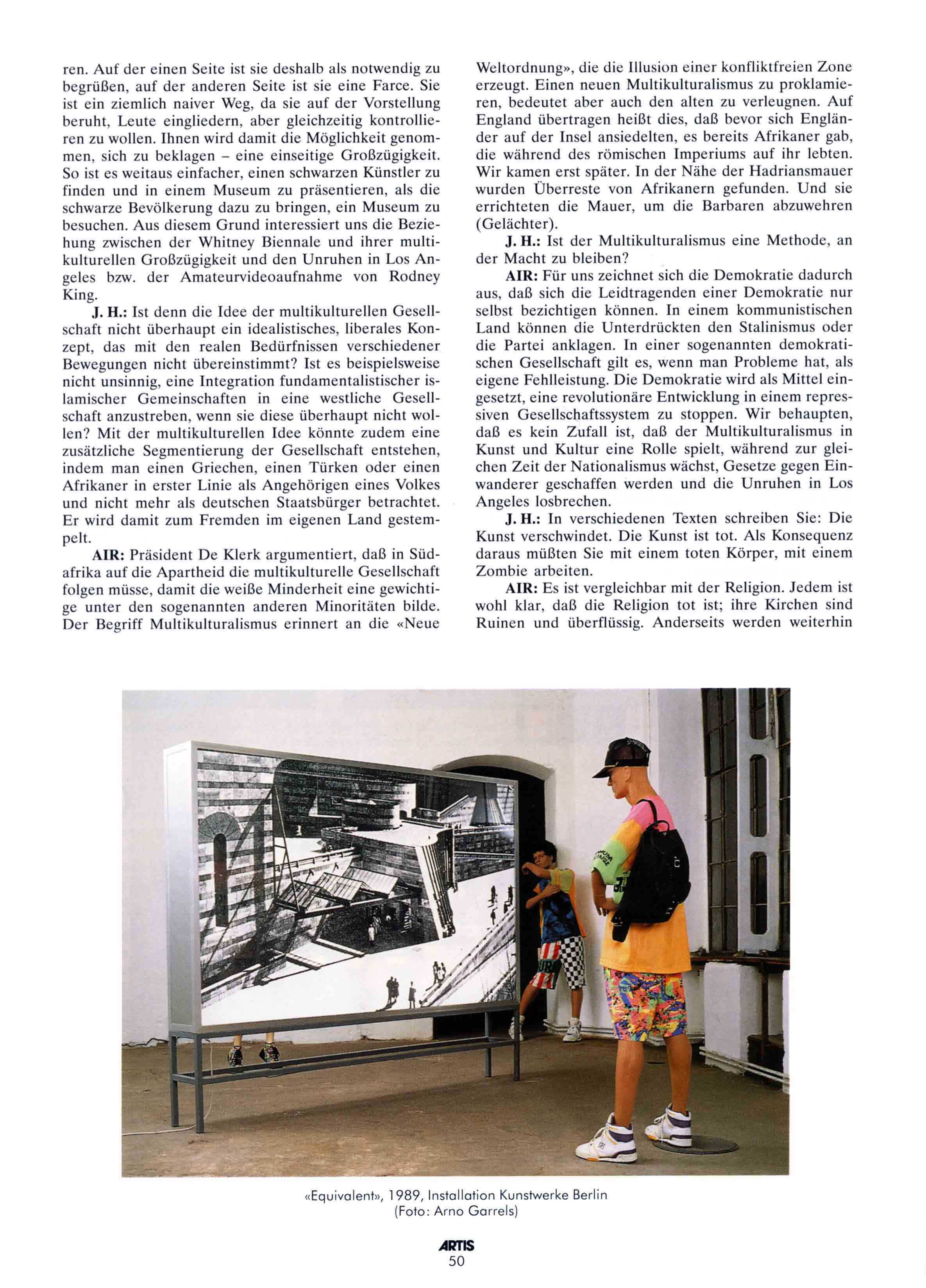 'NACH DEN BARBAREN:  ein Interview mit Art in Ruins' Justin Hoffmann Artis  Dec/Jan 1994/95
