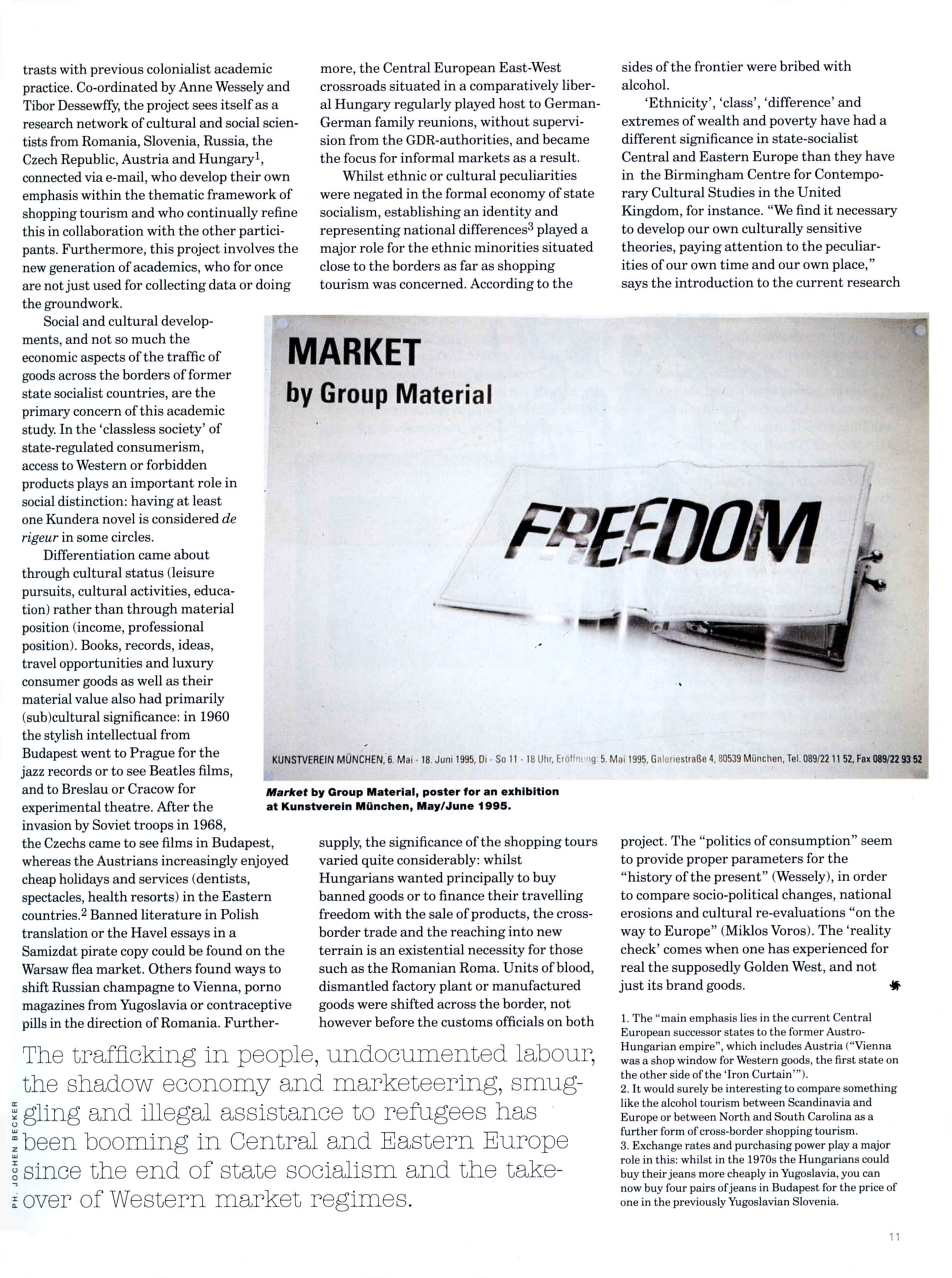 'The Politics of Consumption:  Market Economy after State Socialism' Feature by Jochen Becker Siksi  Vol XII  No 3  Autumn 1997