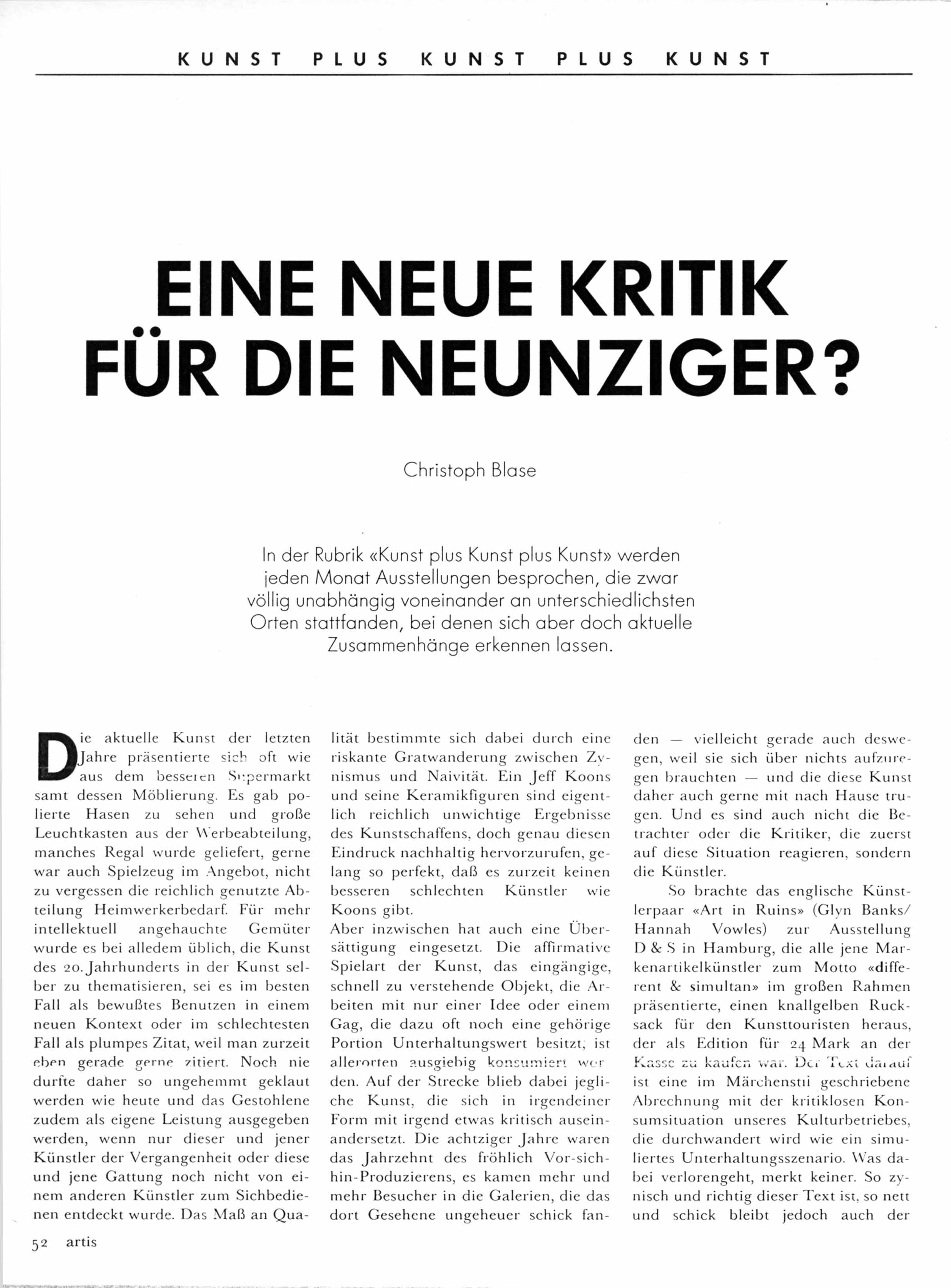 'Eine neue Kritik fur die Neunziger: D & S' Article by Christoph Blase Artis  No 41  Dec 1989 pdf download