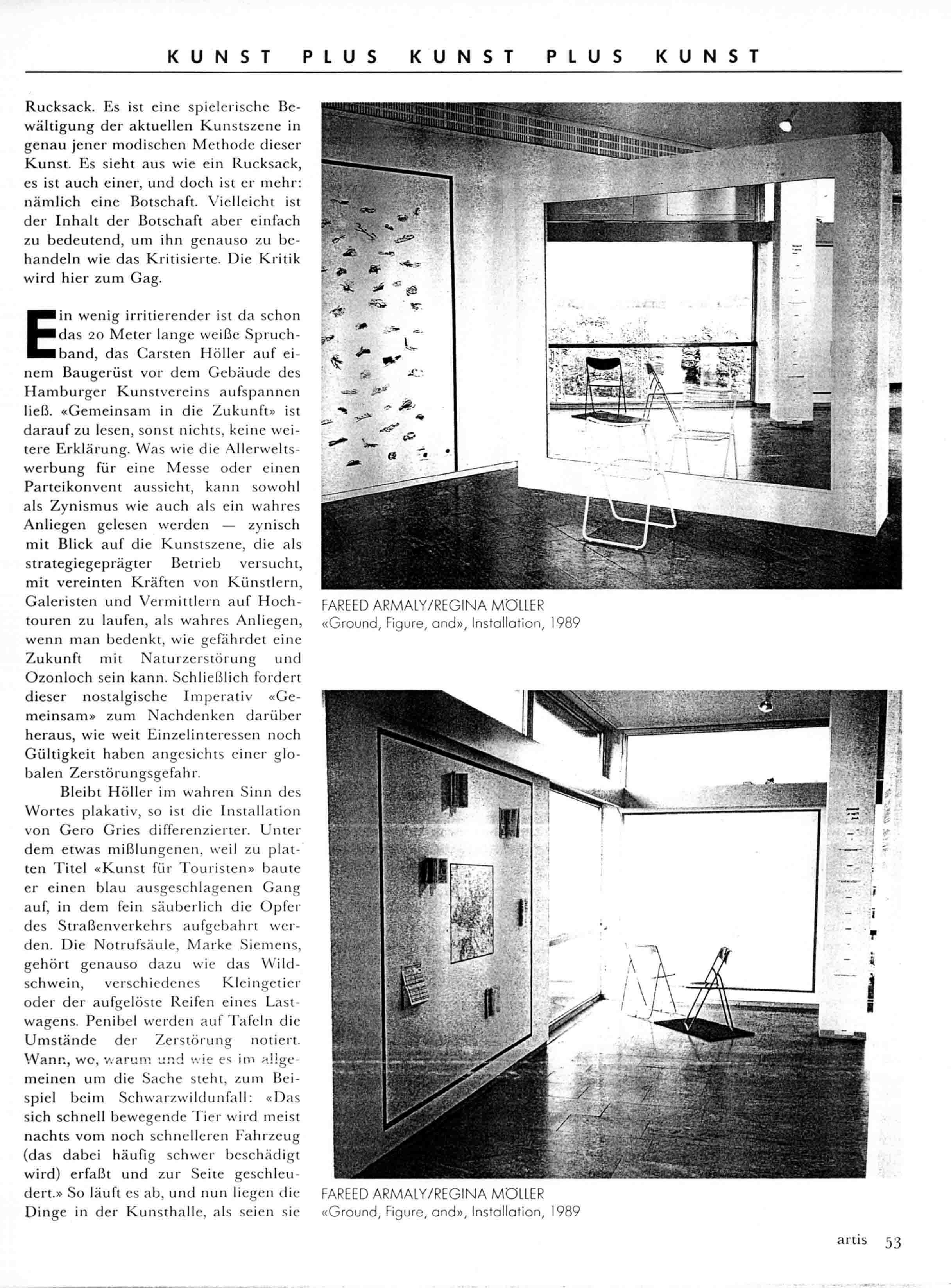 'Eine neue Kritik fur die Neunziger: D & S' Article by Christoph Blase Artis  No 41  Dec 1989