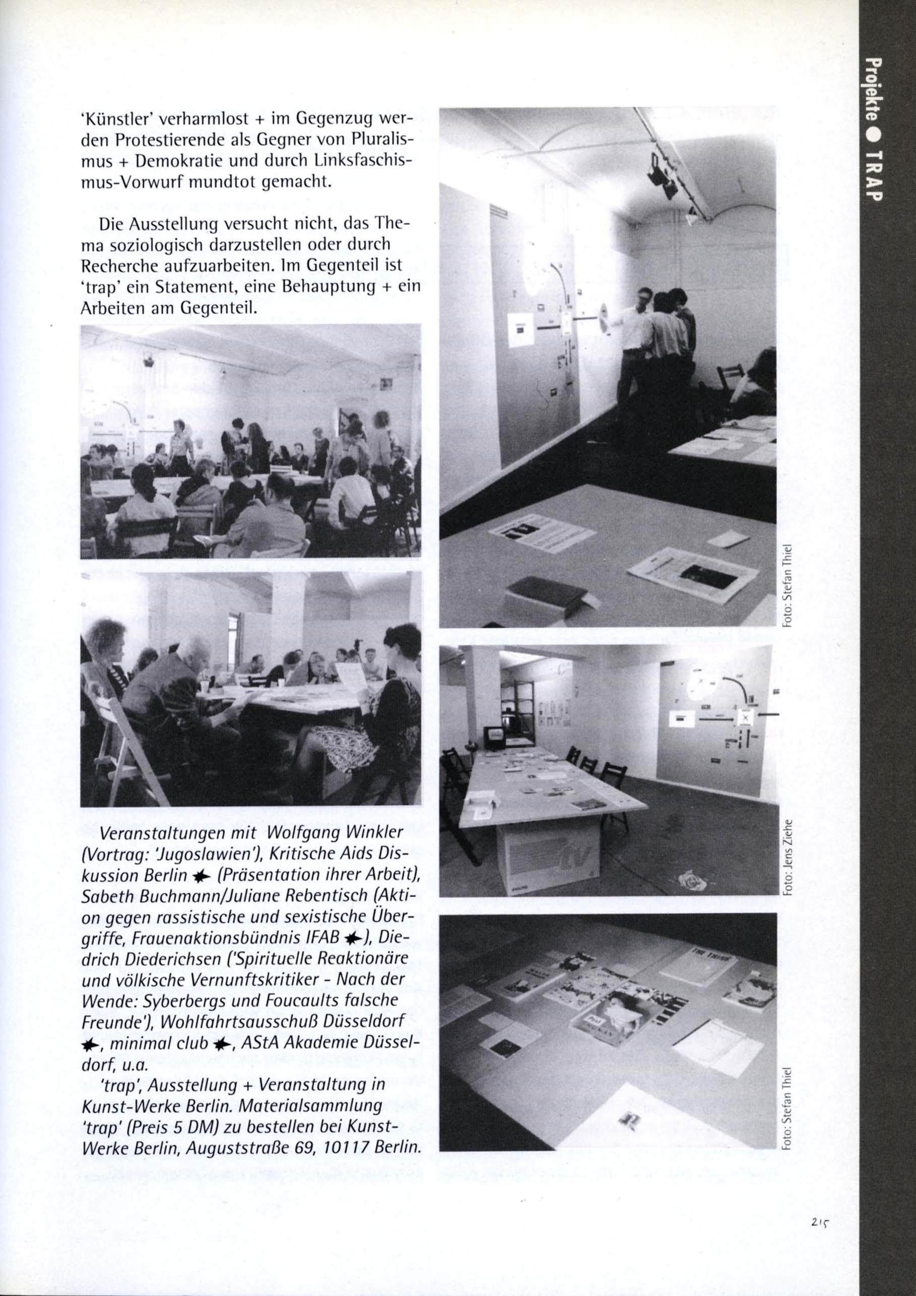 """""""trap"""" documented in 'COPYSHOP: Kunstpraxis & Politische """"Offentlichkeit"""" Ein Sampler von BüroBert' 1993 p215"""