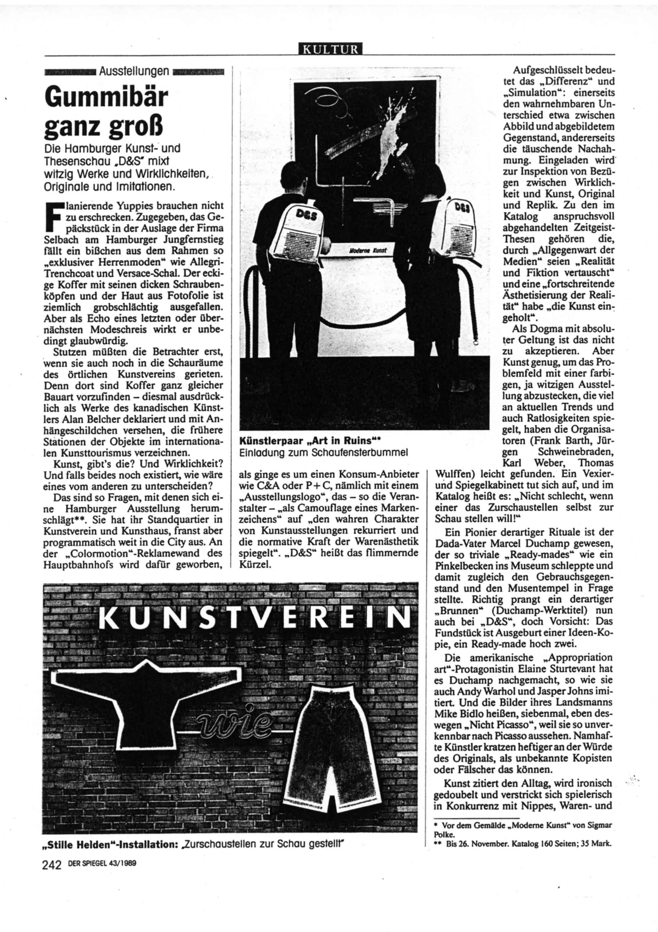 'Gummibar ganz gross'   Review of 'D & S AUSTELLUNG' Der Spiegel  No 43  Oct 23  1989 pdf download