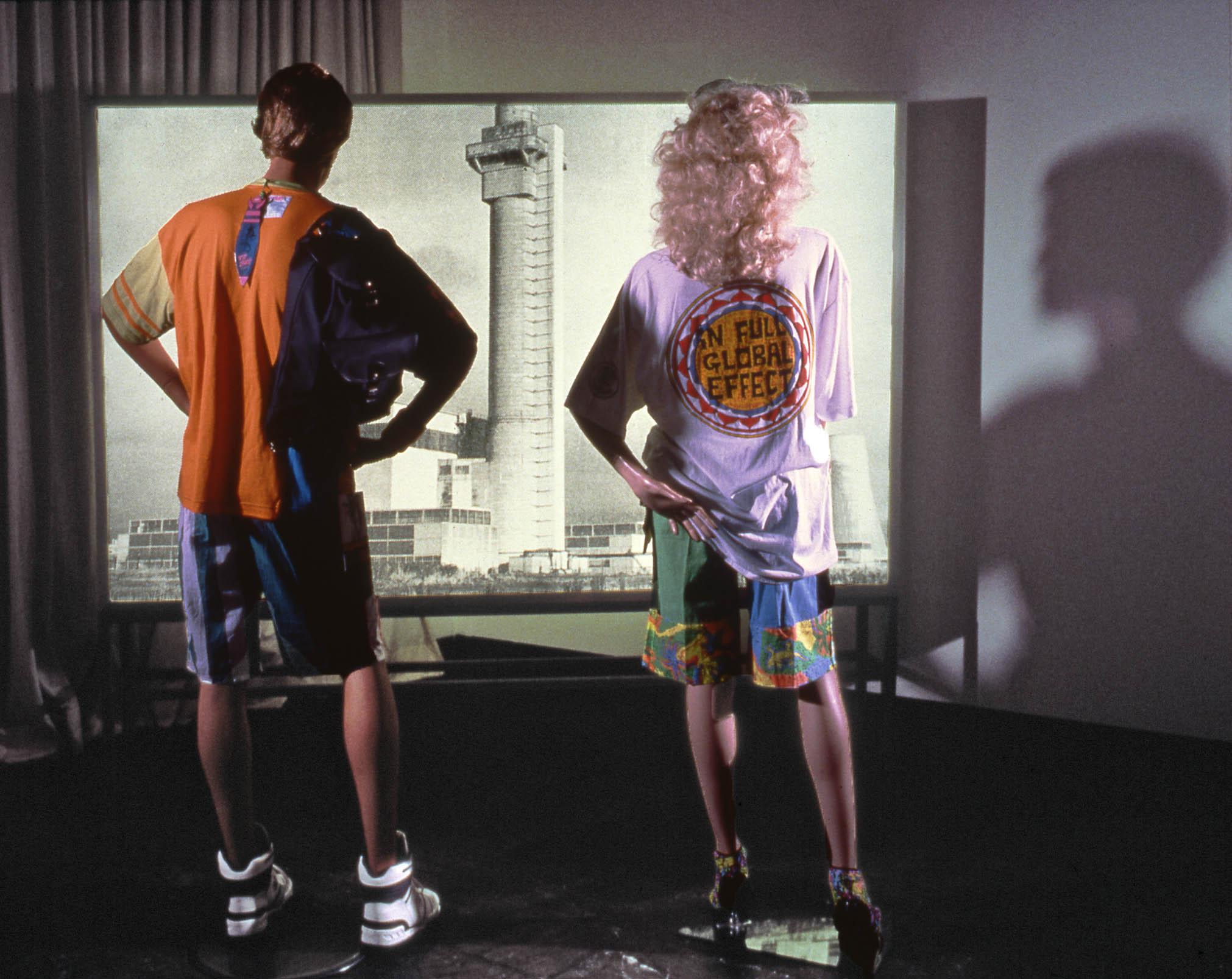 'EQUIVALENT'  Double-sided lightbox, mannikins, fluorescent sportswear Installation 'D & S AUSTELLUNG' Hamburg
