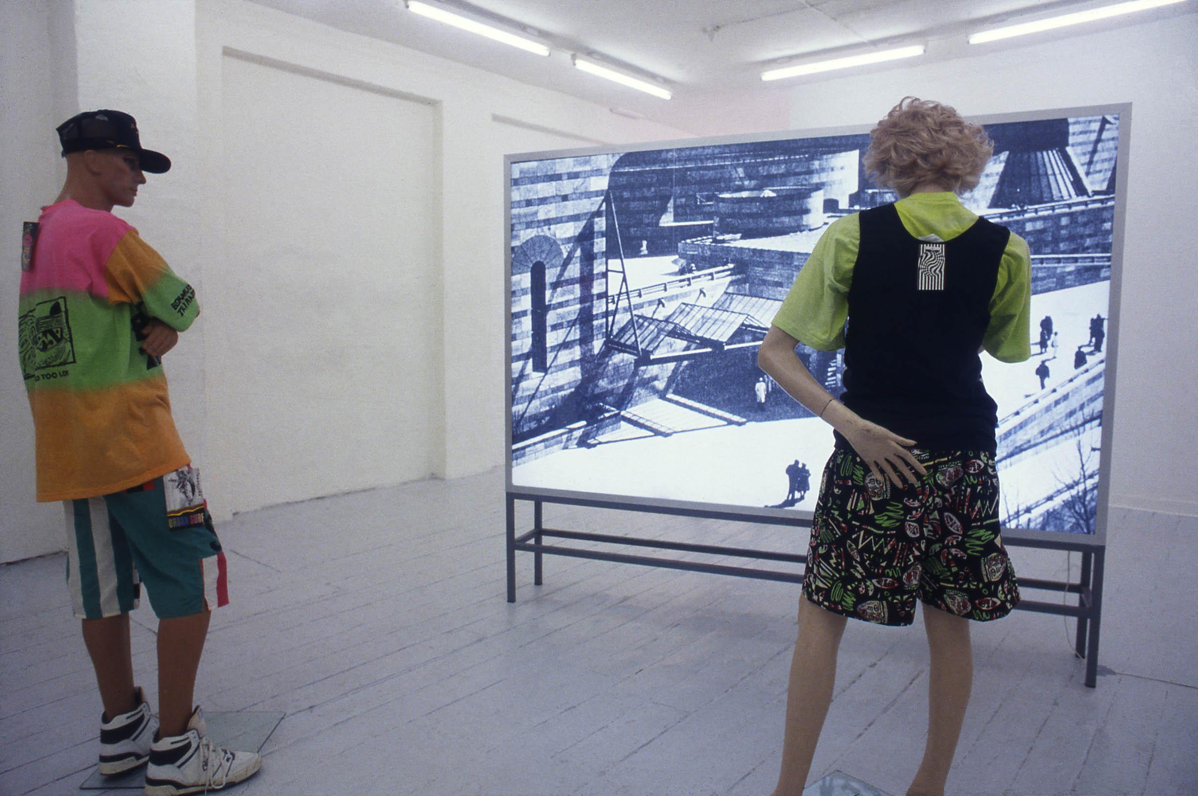 'EQUIVALENT' 1989 Double-sided lightbox, mannikins, fluorescent sportswear Installation 'SANS FRONTIÈRES' Globe Copenhagen 1993