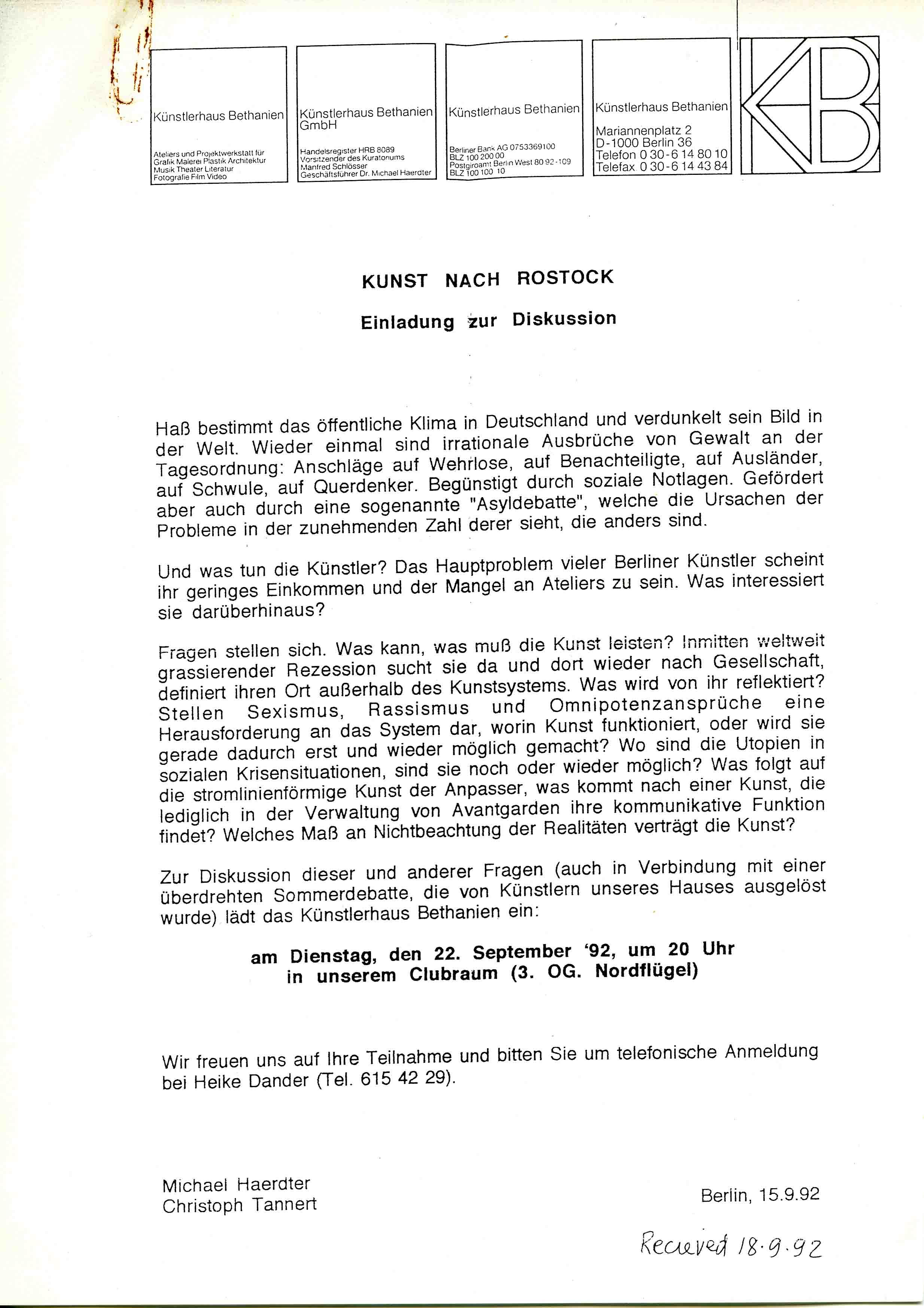 'Kunst nach Rostock'  Invitation to a discussion at Künstlerhaus Bethanien Berlin 1992