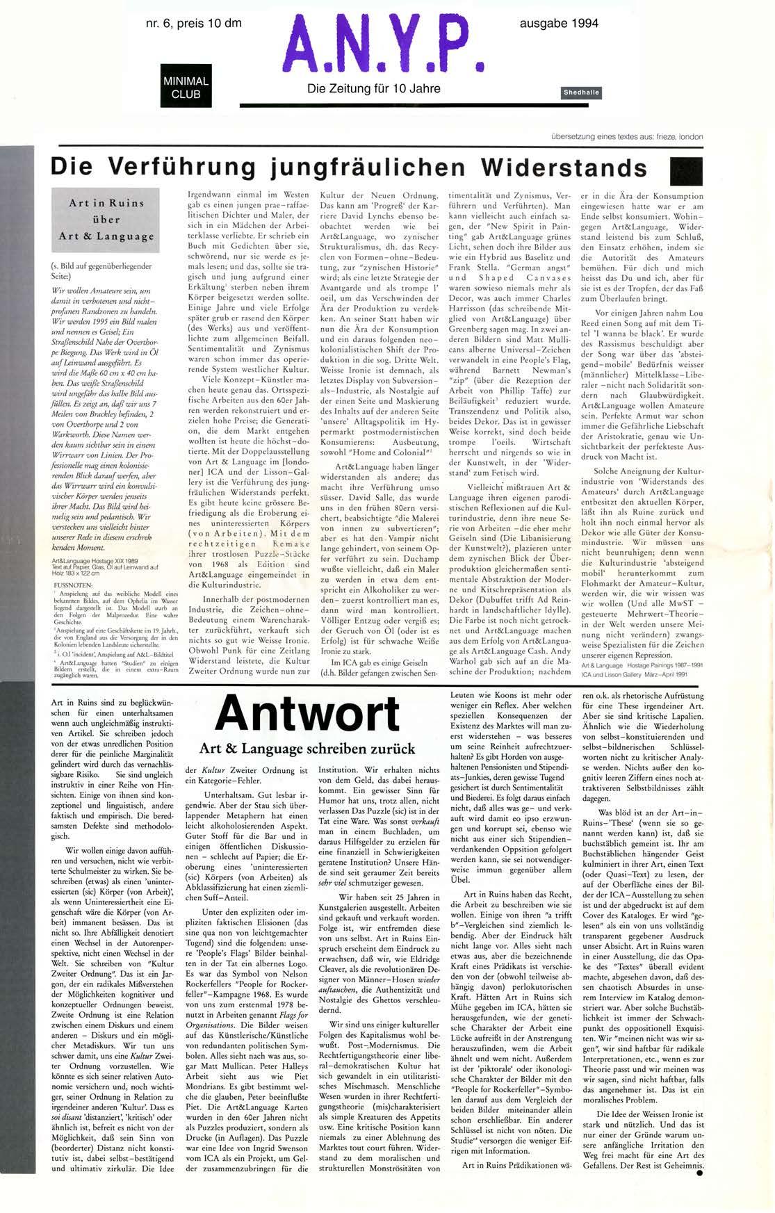 'DIE VERFÜHRUNG JUNGFRÄULICHEN WIDERSTANDS' Art in Ruins über Art & Language.  Art & Language schreiben zurück. ANYP  No 4  1992