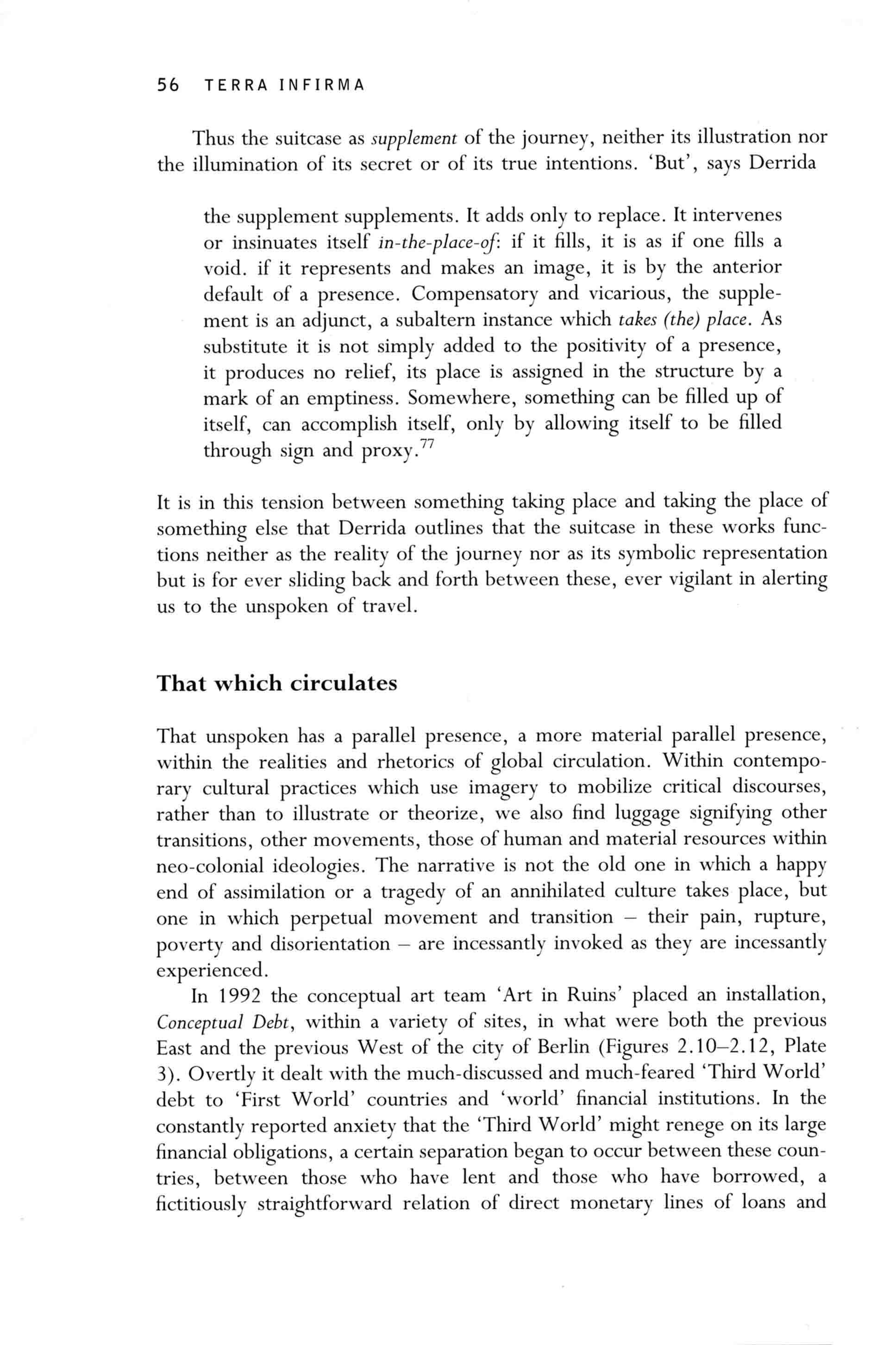 'TERRA INFIRMA: GEOGRAPHY'S VISUAL CULTURE' Irit Rogoff 2000 Routledge  London
