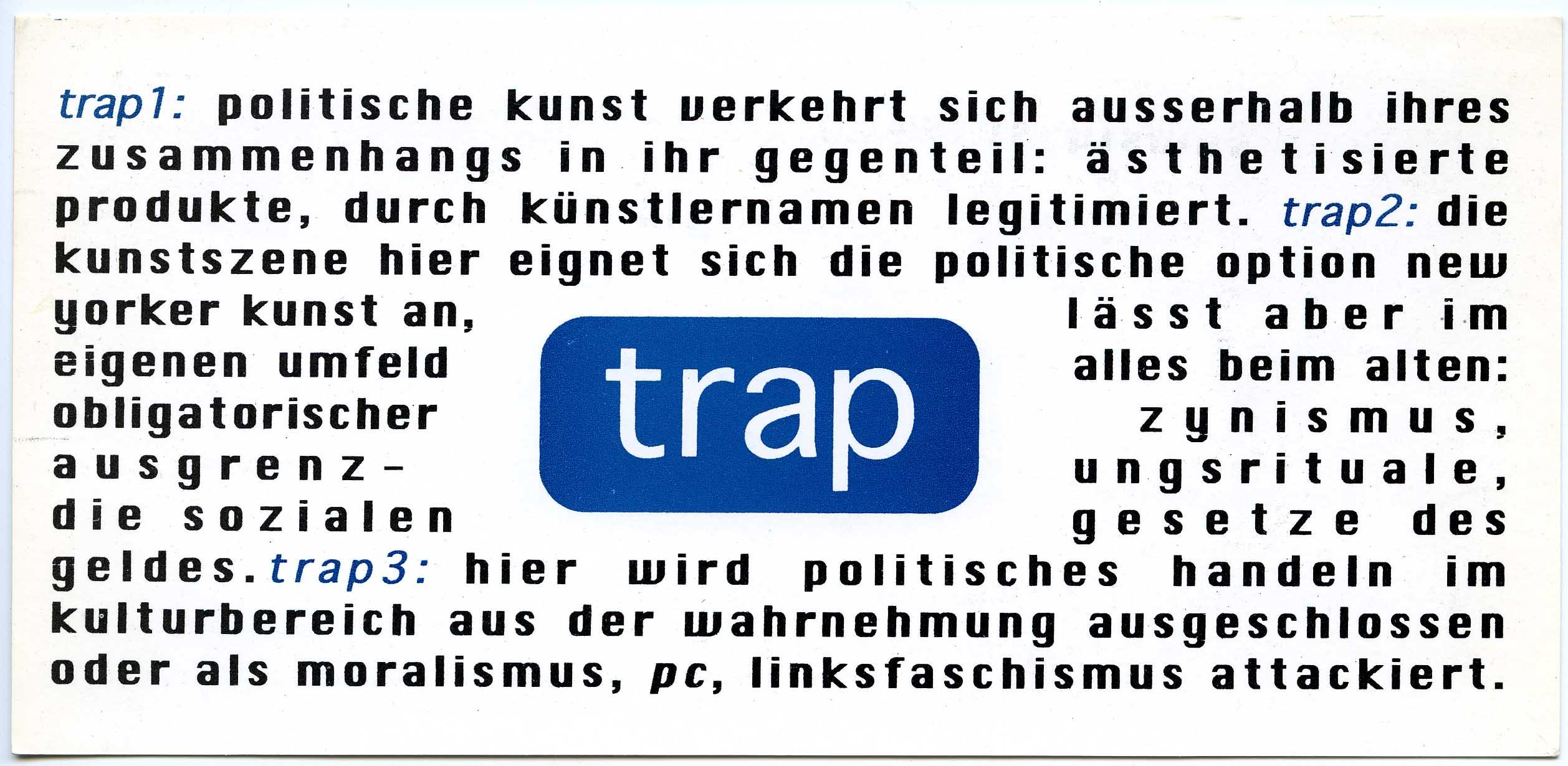 """""""trap"""" KunstWerke Berlin 1993 Invitation Card front"""