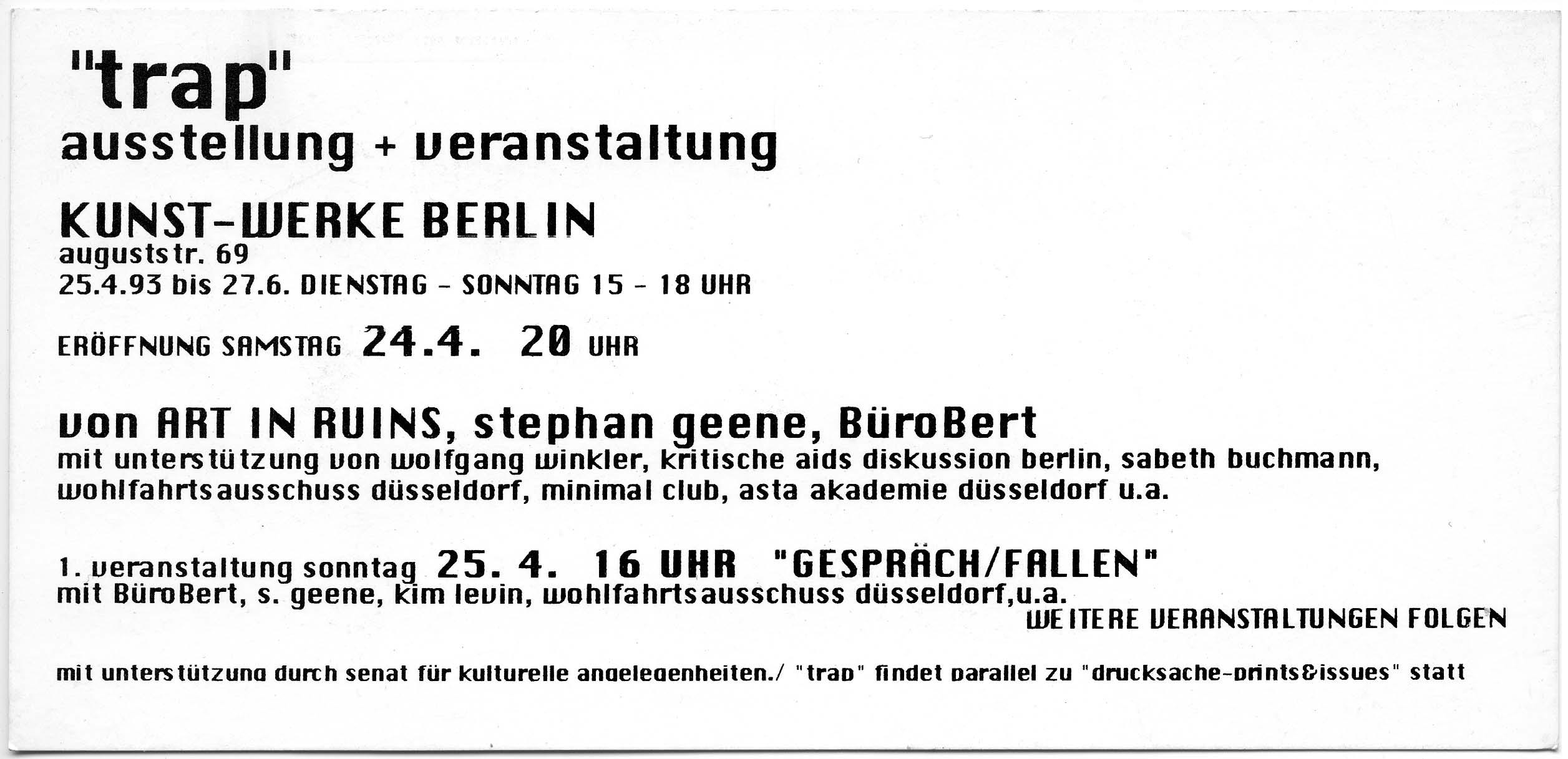 """""""trap"""" KunstWerke Berlin 1993 Invitation Card back"""