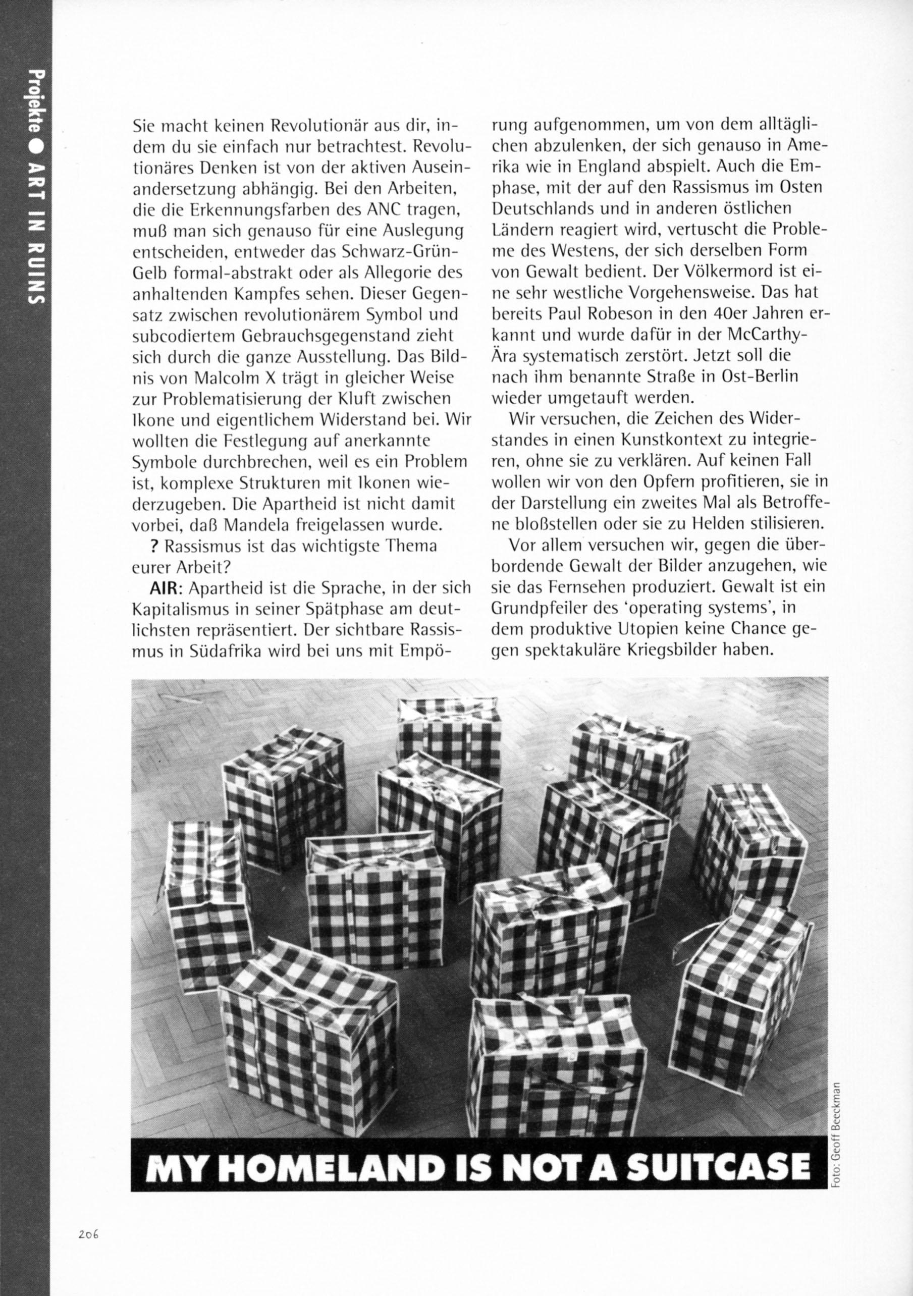 """'PROJEKTE: ART IN RUINS' 'COPYSHOP: Kunstpraxis & Politische """"Offentlichkeit"""" Ein Sampler von BuroBert' 1993 Edition ID-Archive  Berlin/Amsterdam"""
