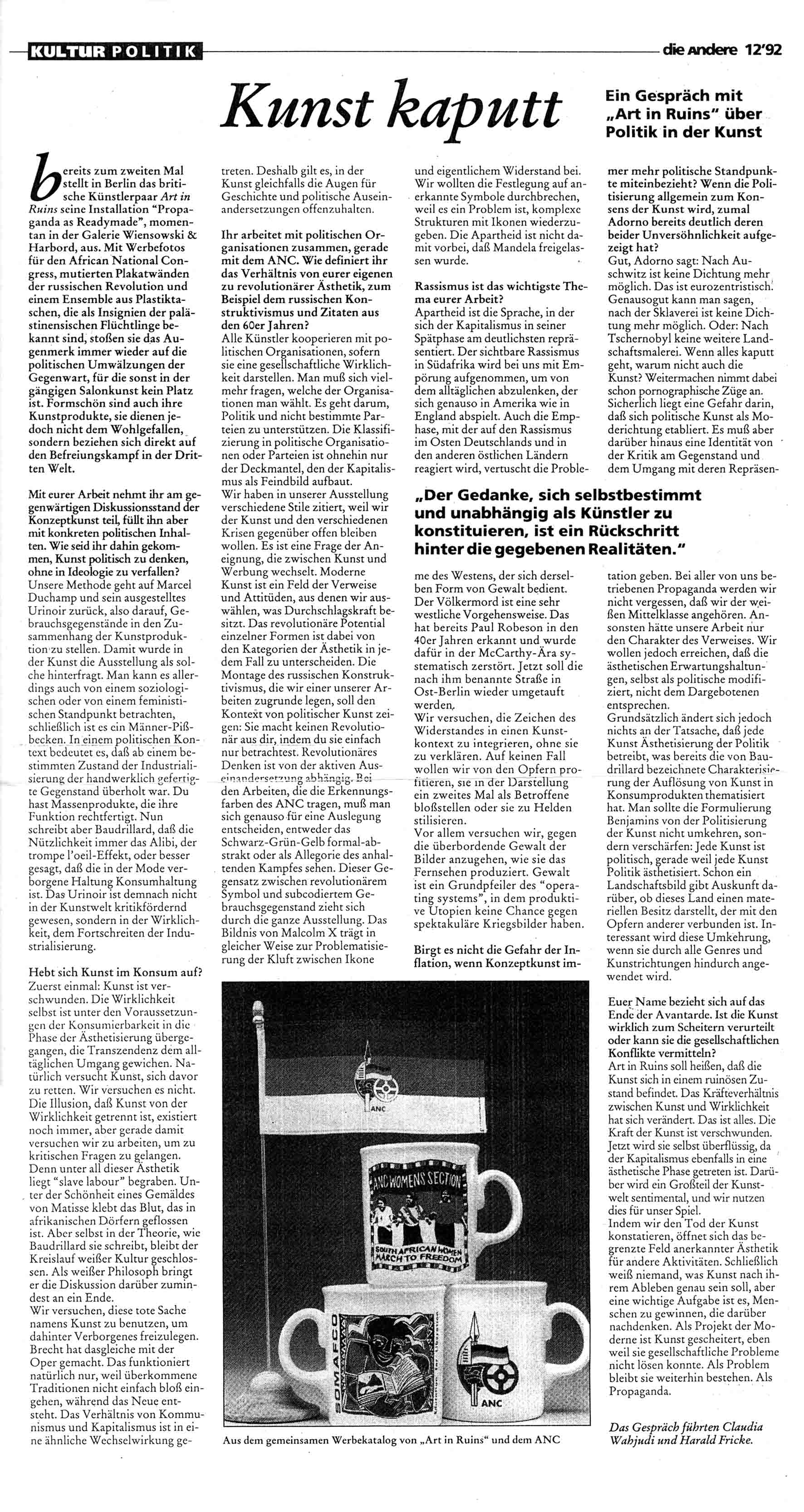 'KUNST KAPUTT' Interview by Harald Fricke and Claudia Wahjudi Die Andere  No 12  Mar 1992