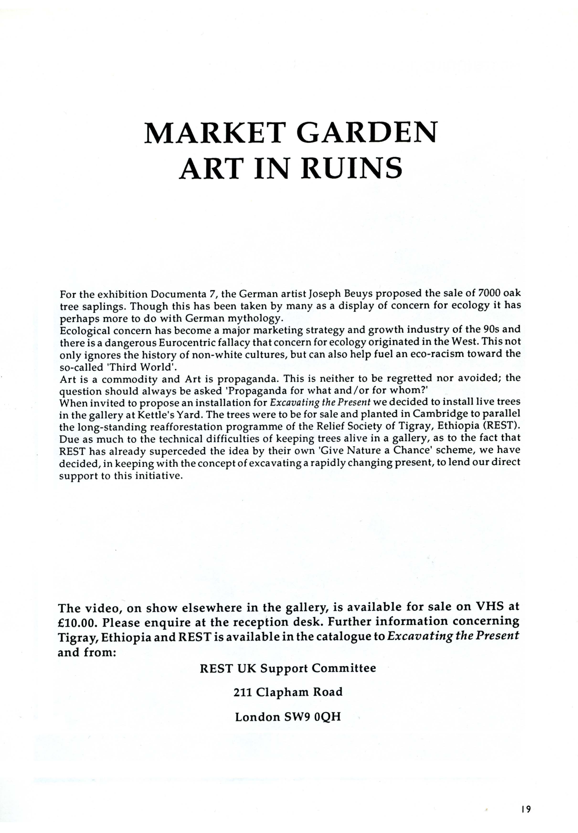 MARKET GARDEN Catalogue Text by Art in Ruins EXCAVATING THE PRESENT Kettle's Yard, Cambridge 1991
