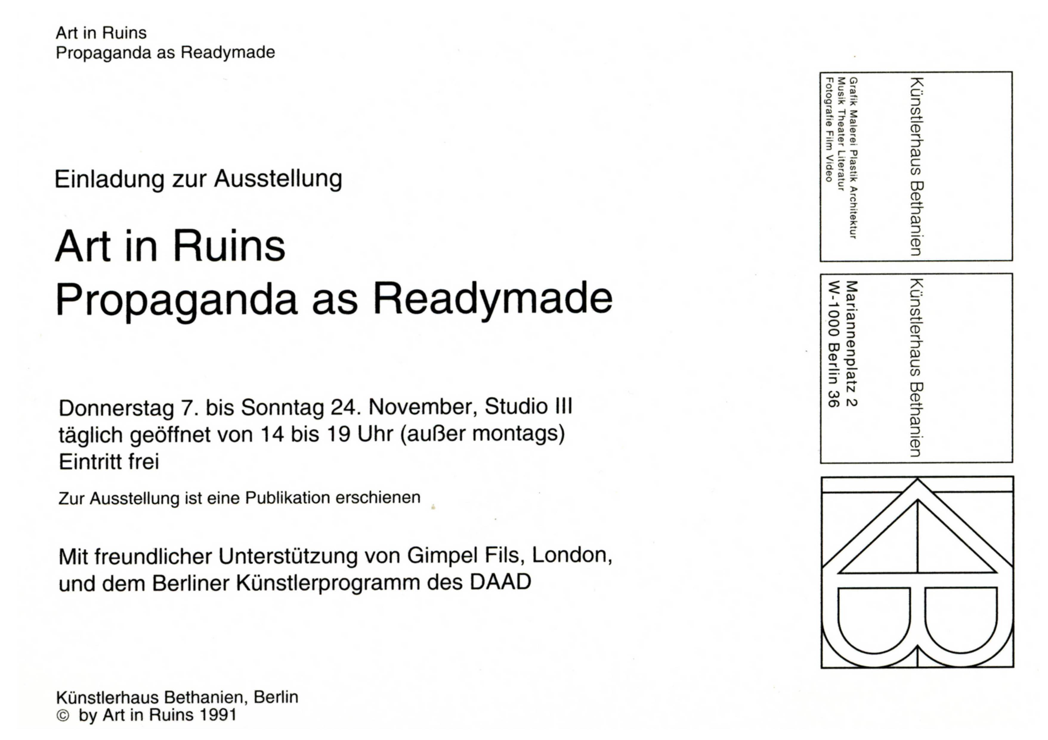 'PROPAGANDA AS READYMADE' Künstlerhaus Bethanien 1991. Invitation card
