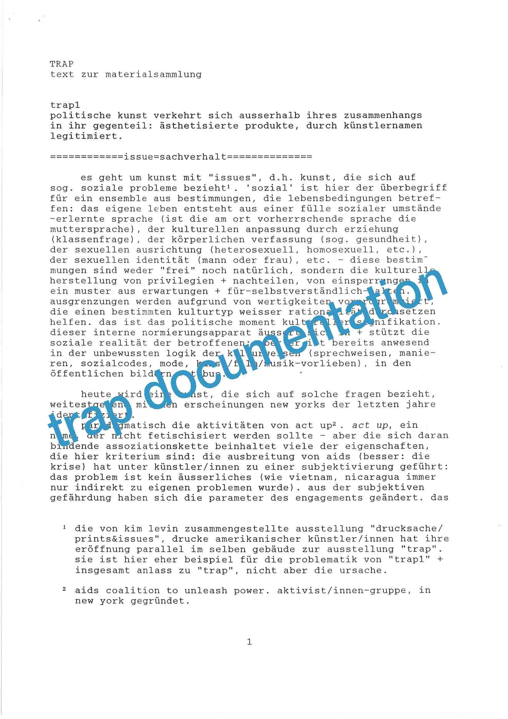 """trap"" documentation page 1"
