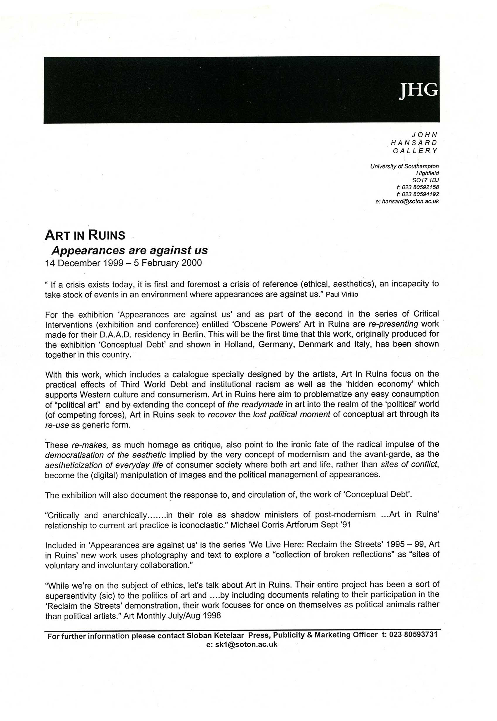 APPEARANCES ARE AGAINST US Art in Ruins John Hansard Gallery Southampton 2000 Press Release