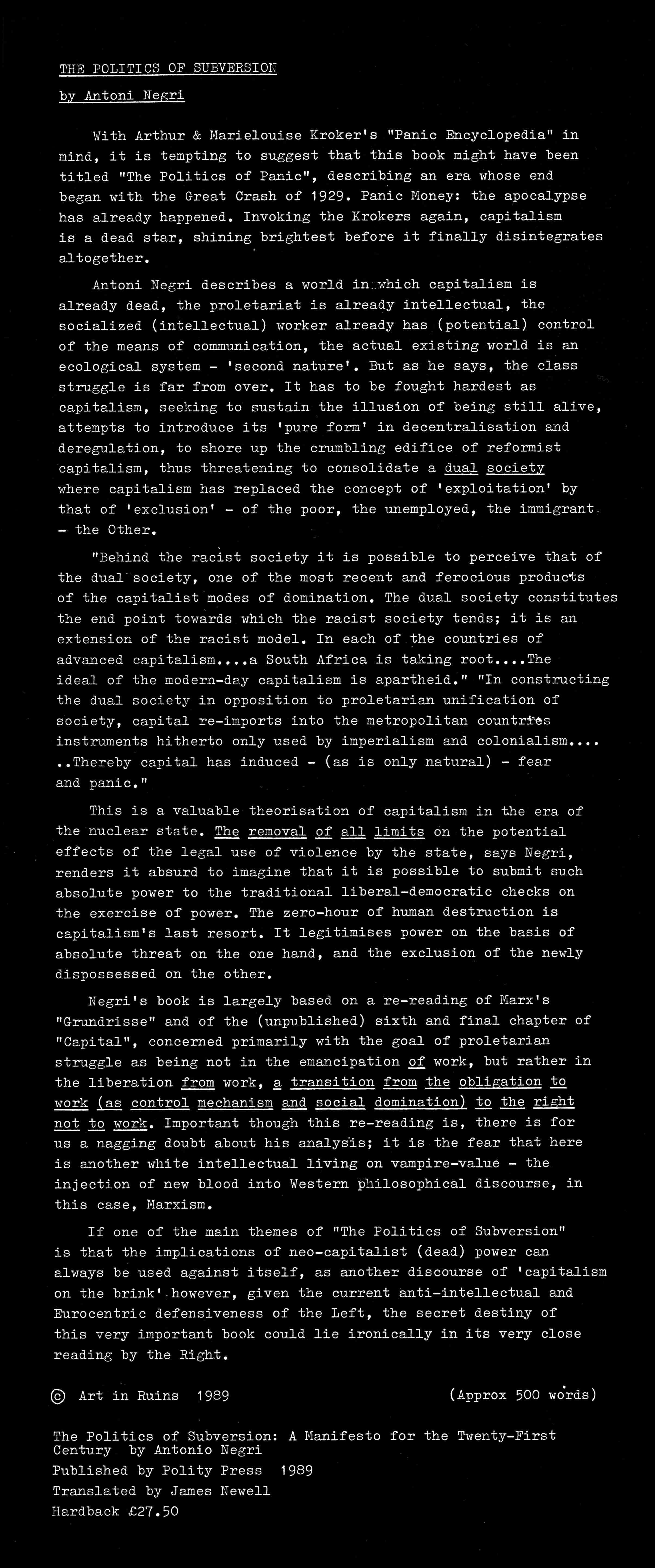 'THE POLITICS OF SUBVERSION:  A MANIFESTO FOR THE TWENTY-FIRST CENTURY'  Antonio Negri. Polity Press 1989 Review 1989