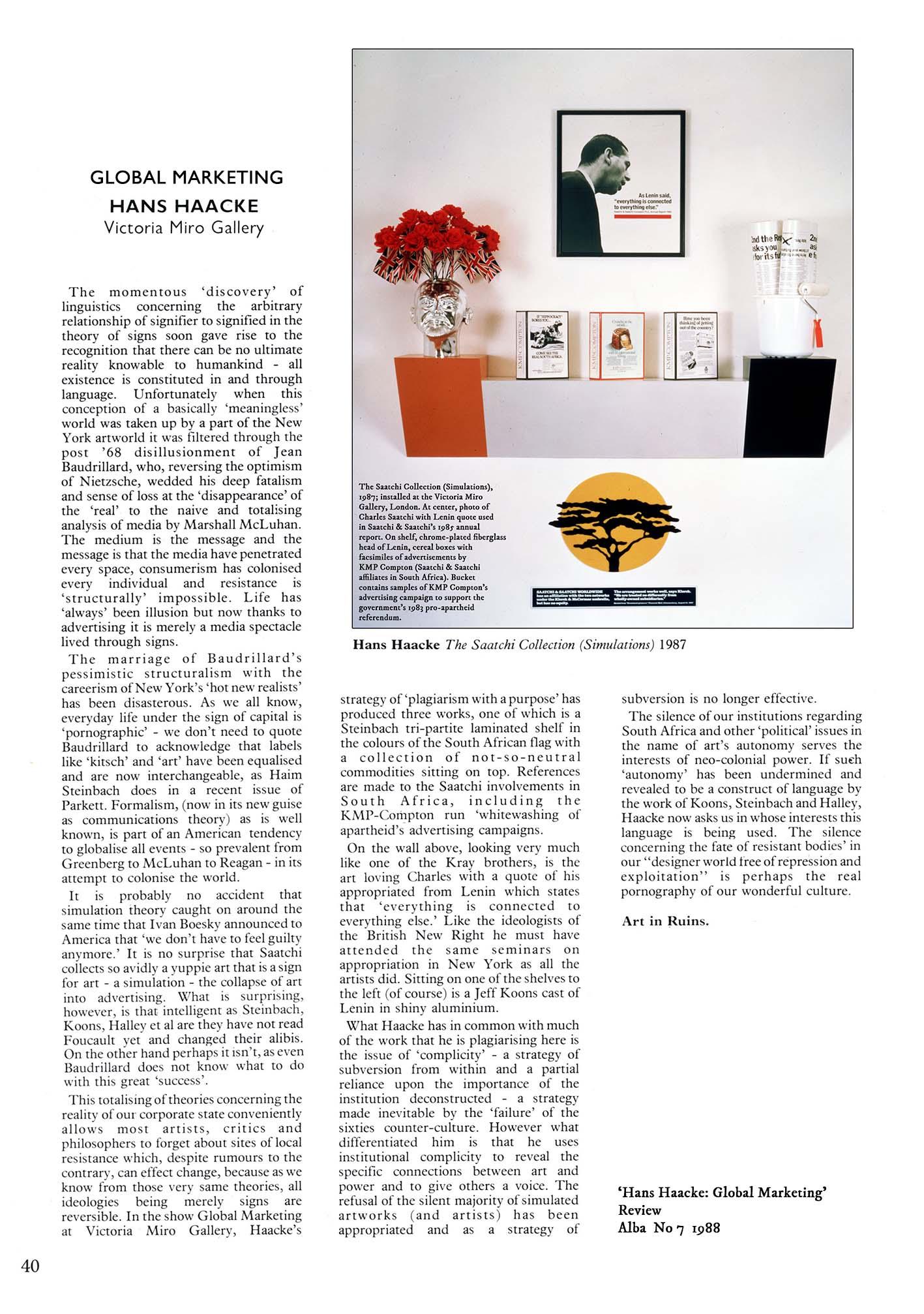 Hans Haacke Review Alba 1988