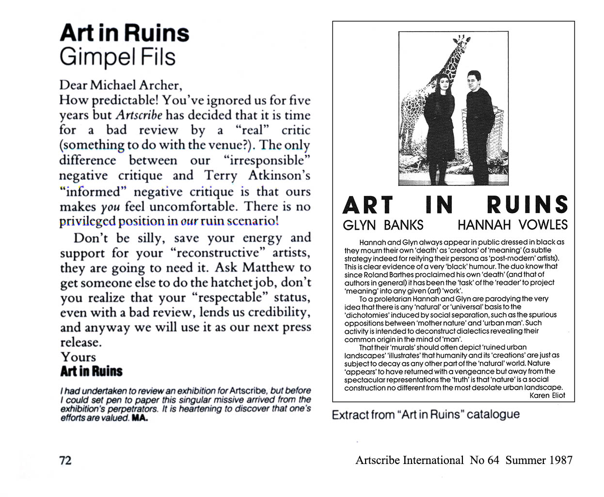 Michael Archer 'Review' Artscribe International 1987