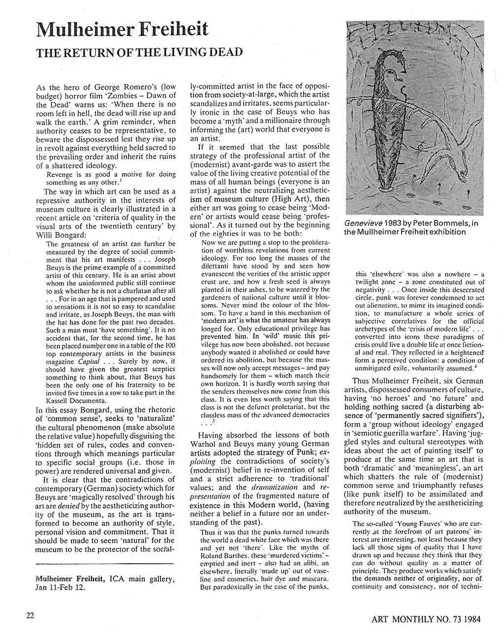 The Return of the Living Dead Review of Mulheimer Freiheit Art Monthly No 73 Feb 1984
