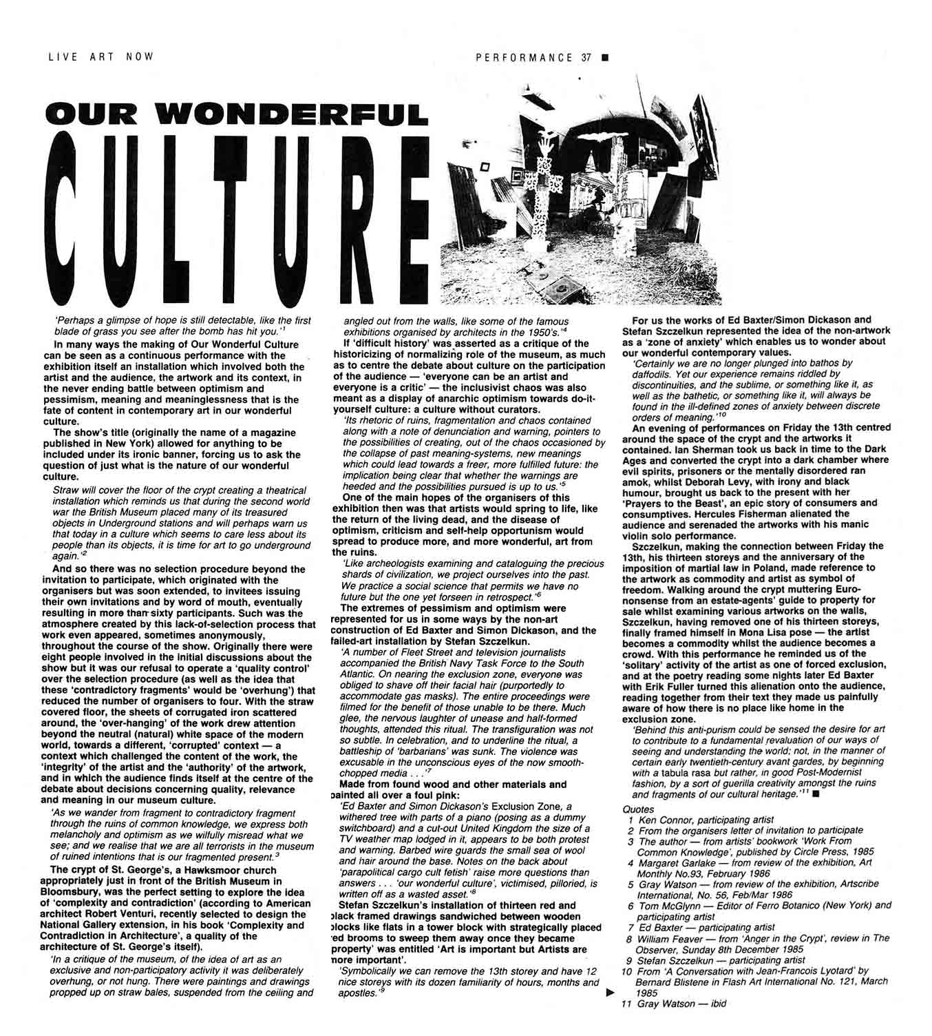 Our Wonderful Culture: Art in Ruins. Documentation: Performance Magazine