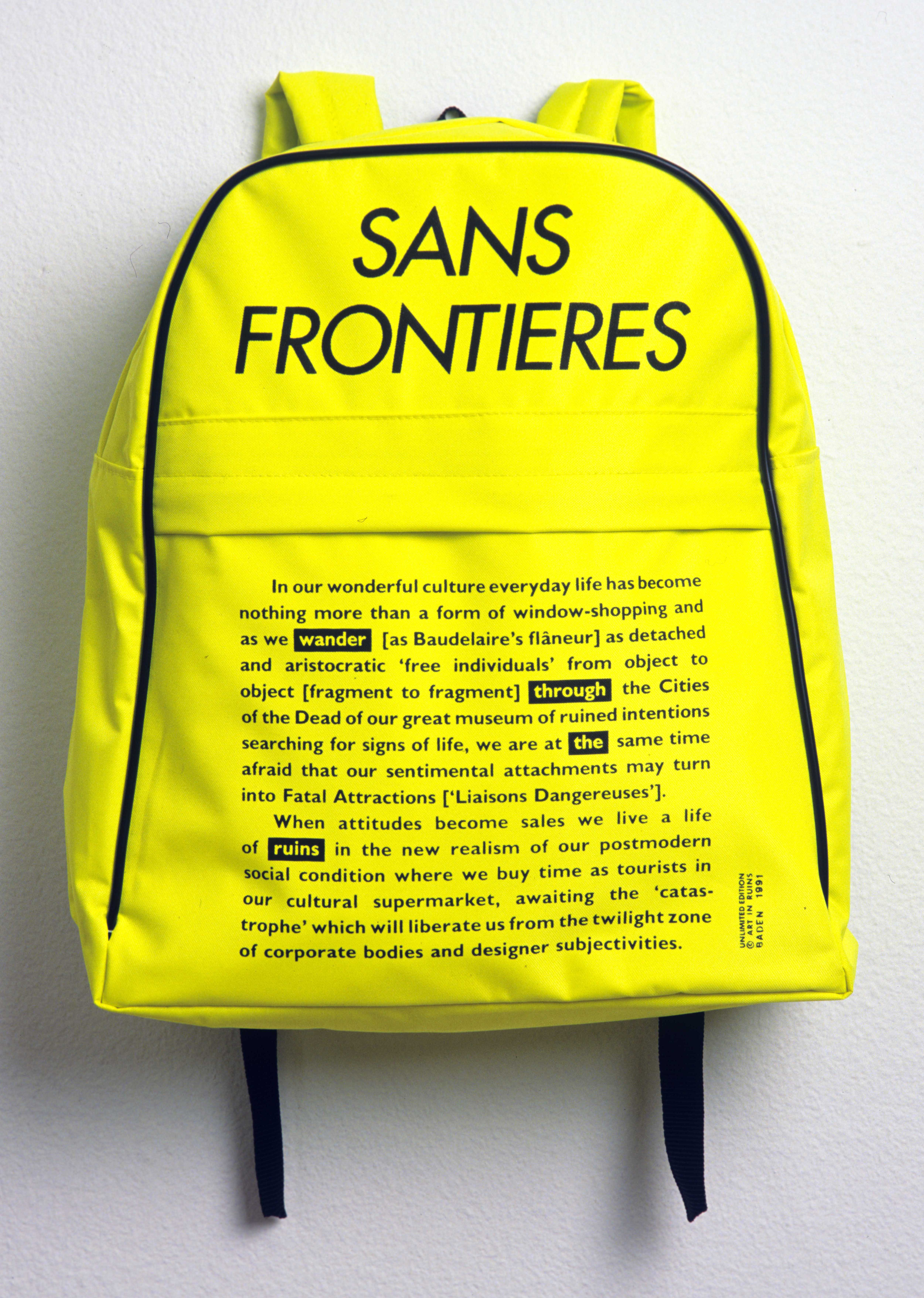 Sans Frontieres. Unlimited Edition Global Issue Rucksack. 1991 Art in Ruins