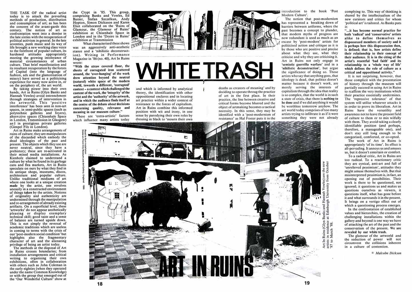 White Trash: Art in Ruins Feature by Malcolm Dickson 1987