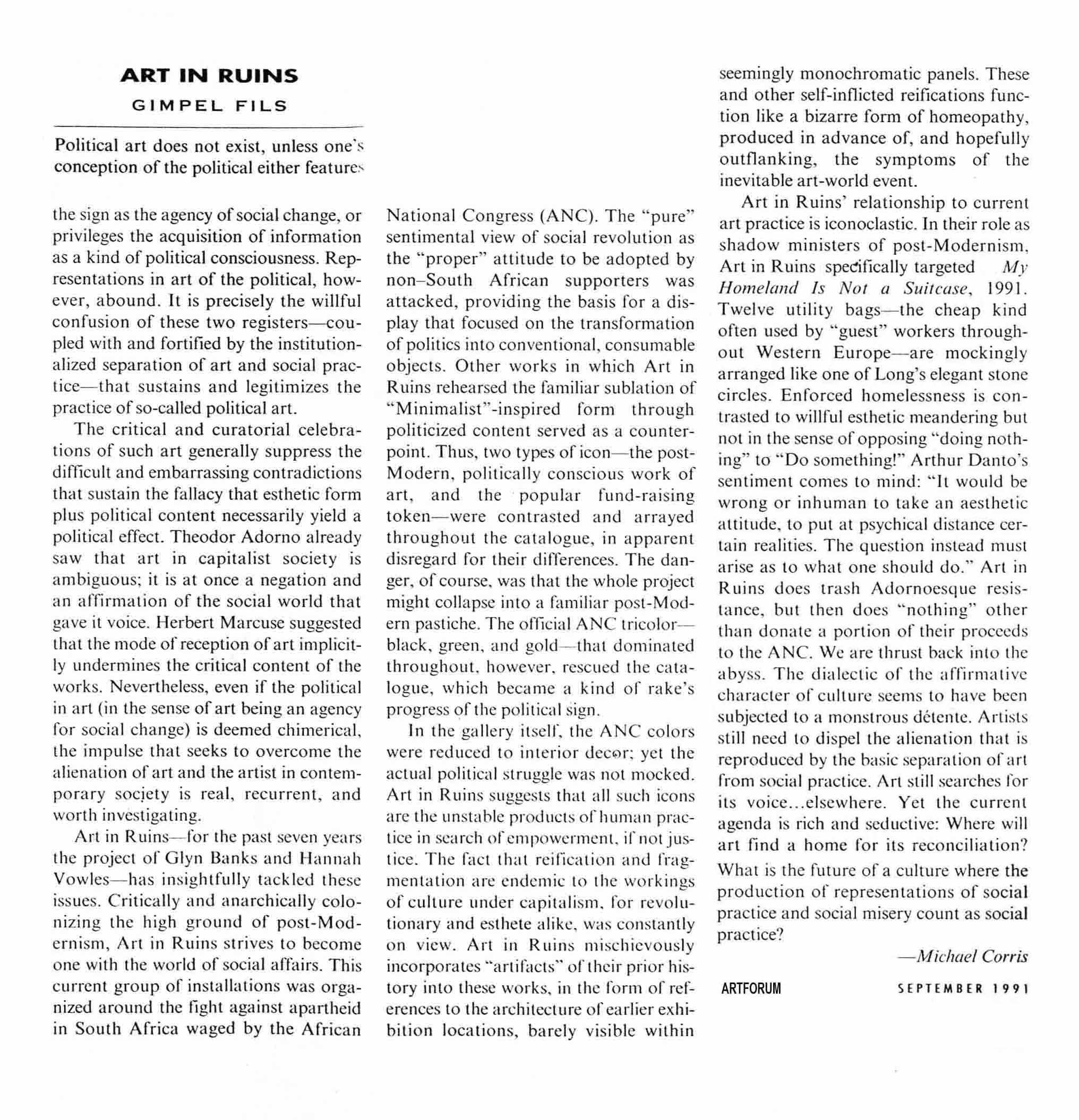 New Work, Gimpel Fils 1991.  Michael Corris Review. Double-Take Prague 2000
