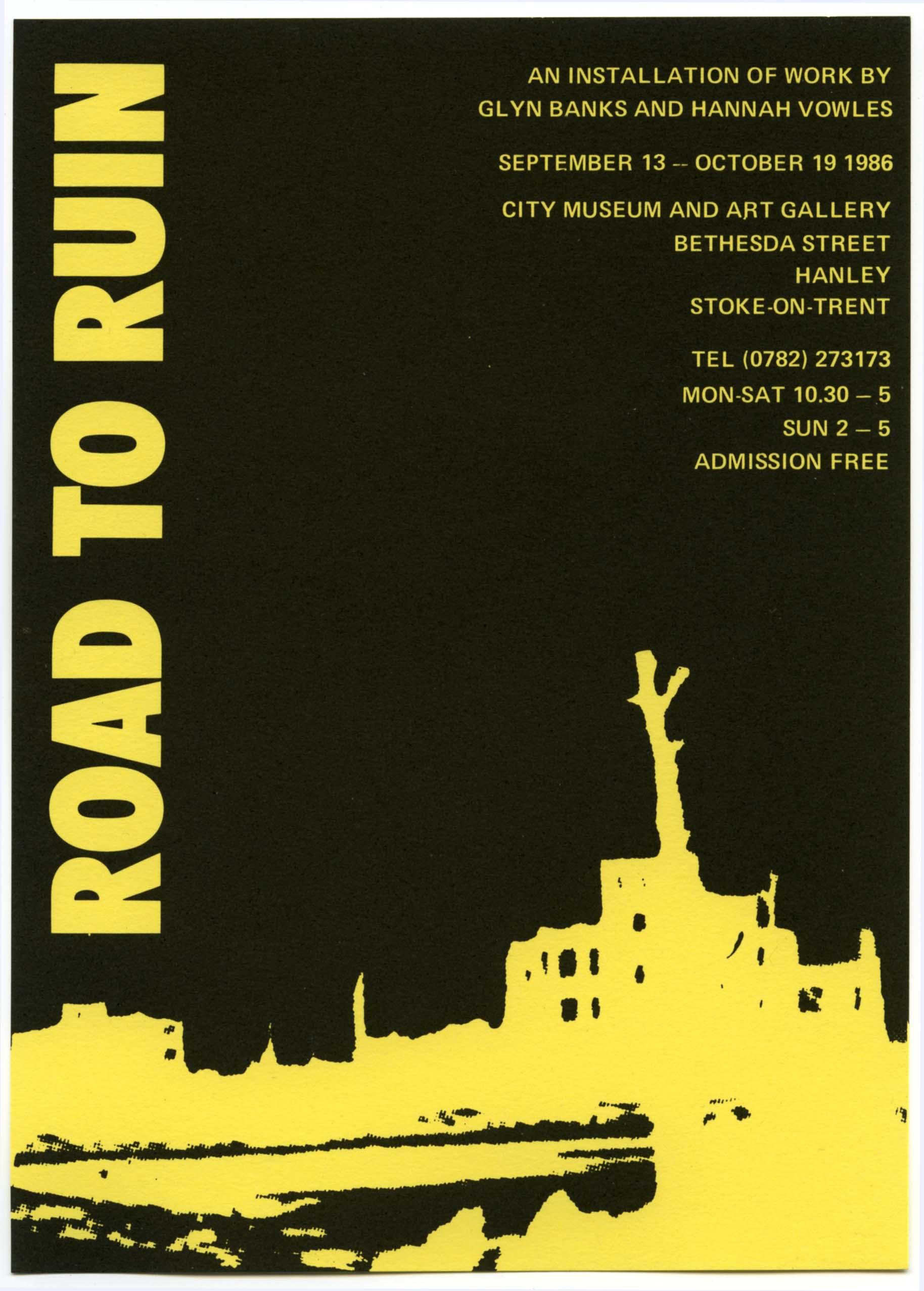 Road to Ruin: Invitation Card 1986 Art in Ruins